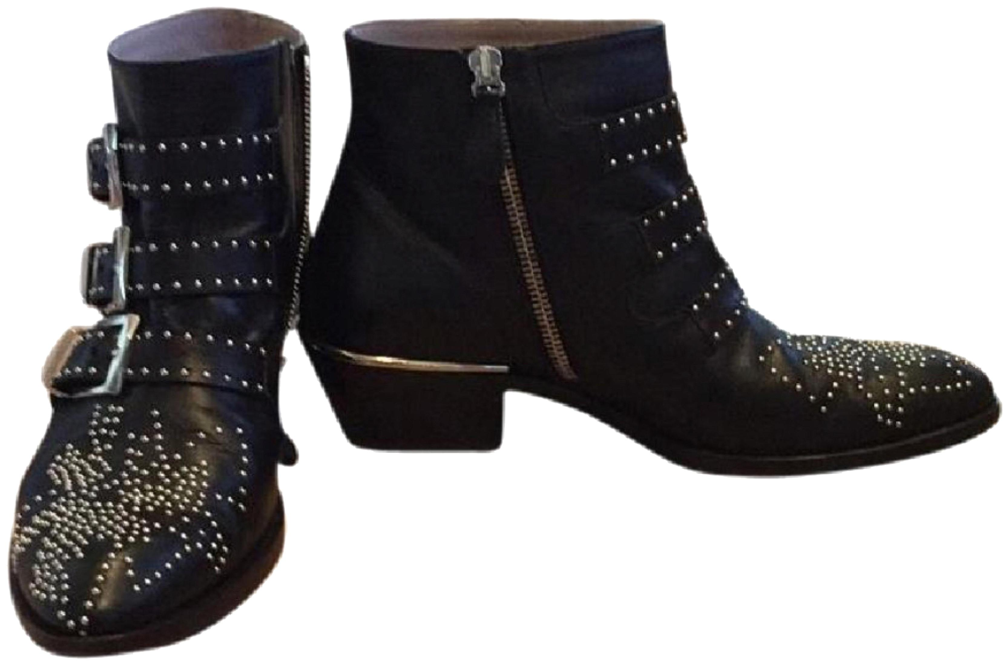 Chloé Black with Silver Studs Susanna Boots/Booties Size US 6 Regular (M, B)