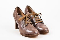 Chlo Chloe Leather Lace Up Brown Pumps
