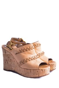 Chloé Cork Leather Gold Hardware Beige Wedges