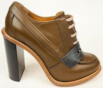 Chloé Chloe Leather Lace Up Oxford Ankle Heels Us6 Tan / Gray Boots