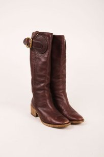 Chlo Chloe Brown Leather Buckle Boots