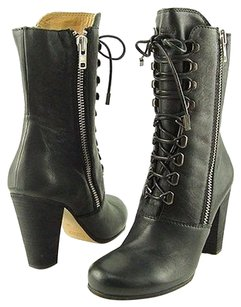 Chloe Lace Up Leather Black Boots