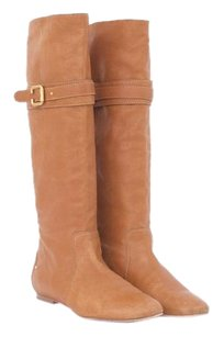 Chloé Chlo Tan Leather High Knee Flat Pull Buckle Almond Toe Brown Boots