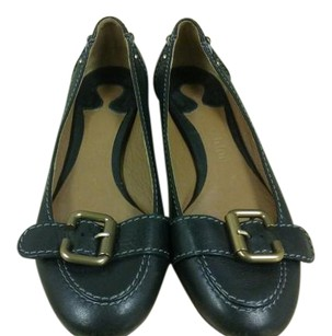 Chloé Made In Italy Gray Stitching Brass Hardware Black Flats