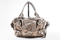 Chloé Chloe Pebbled Leather Satchel in Silver