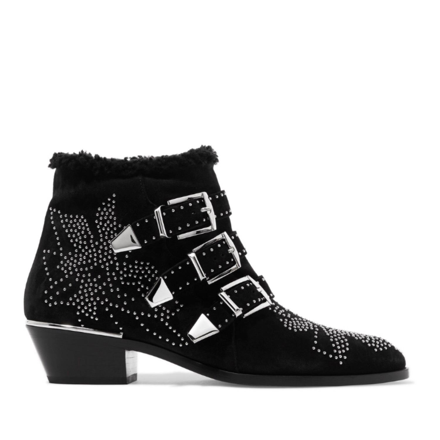 b172be2732eb Chloé Susanna Sterling Lined Studded Ankle Boots Booties Size US US US 7  Regular (