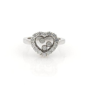 Chopard Chopard Happy Diamond 18k White Gold Heart Diamond Bezel Ring 4.25