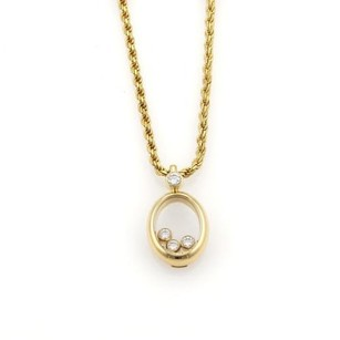 Chopard Chopard Happy Diamond 18k Yellow Gold Oval Pendant Rope Chain Necklace