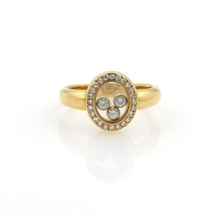 Chopard Chopard Happy Diamonds 18k Yellow Gold Oval Diamond Bezel Ring 5.75
