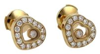 Chopard Chopard Happy Diamond 18k Yellow Gold Hearts Stud Earrings
