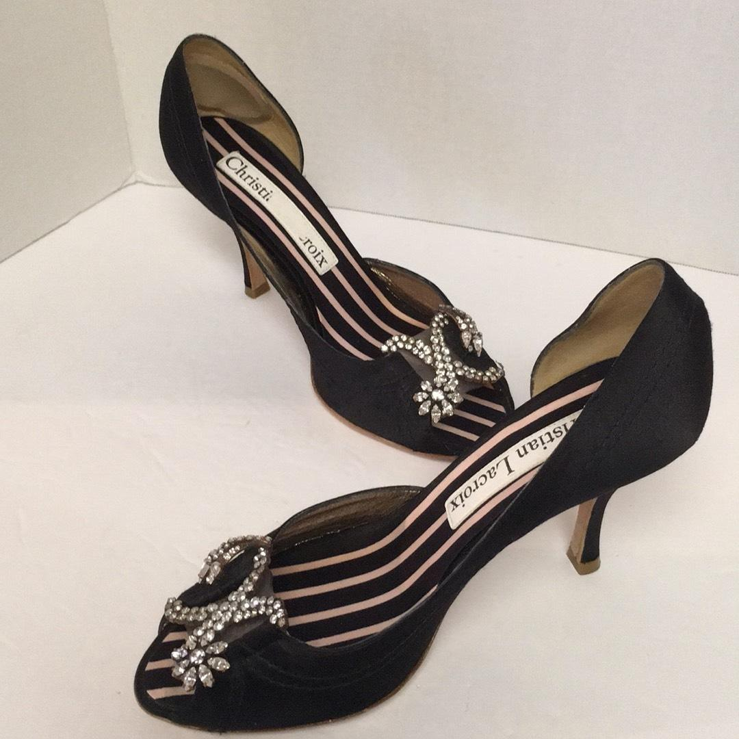 cheap 2015 new 100% authentic cheap price Christian Lacroix Embellished Satin Pumps wiki sale online affordable sale online cheap affordable AwYBXkzVB