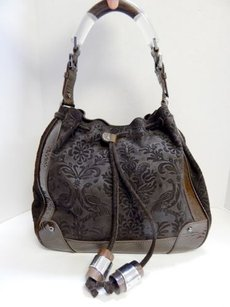 Christian Lacroix Tooled Leather Patent Drawstring Shoulder Bag