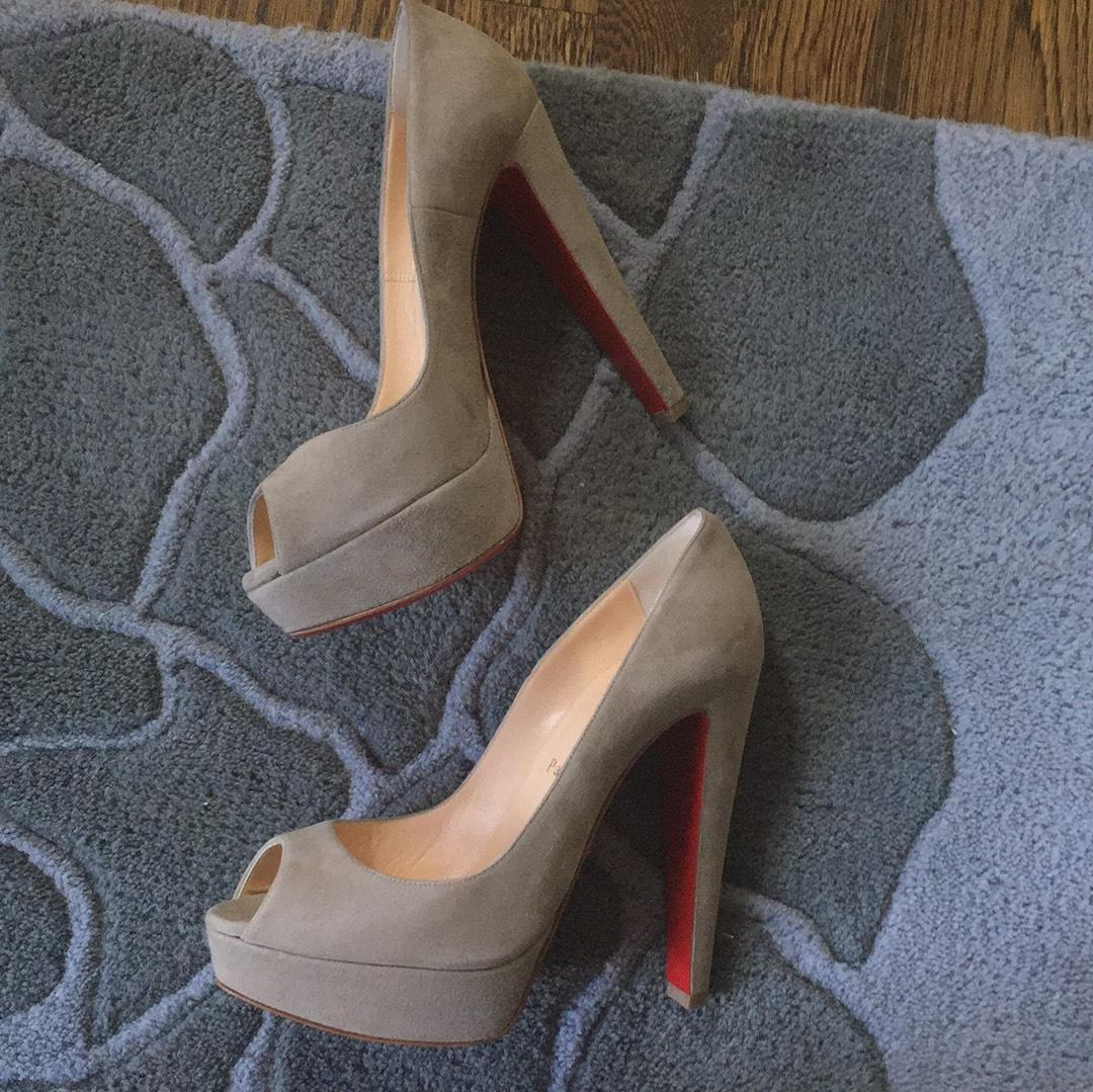 best service 8cbb9 43c66 Christian Louboutin Altanana Pierre Gray Suede Neutral Taupe ...