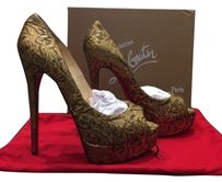 Christian Louboutin Lady Peep Gold Platforms