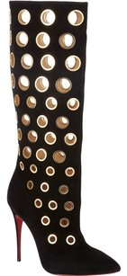 Christian Louboutin Apollo Knee High Hardware Eye Embellishment Luxury Grommets So Kate Pigalle Black, Gold Suede Boots