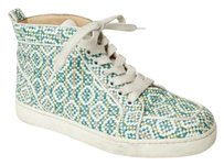 Christian Louboutin Multicolor Leather Woven Sneakers Green Athletic
