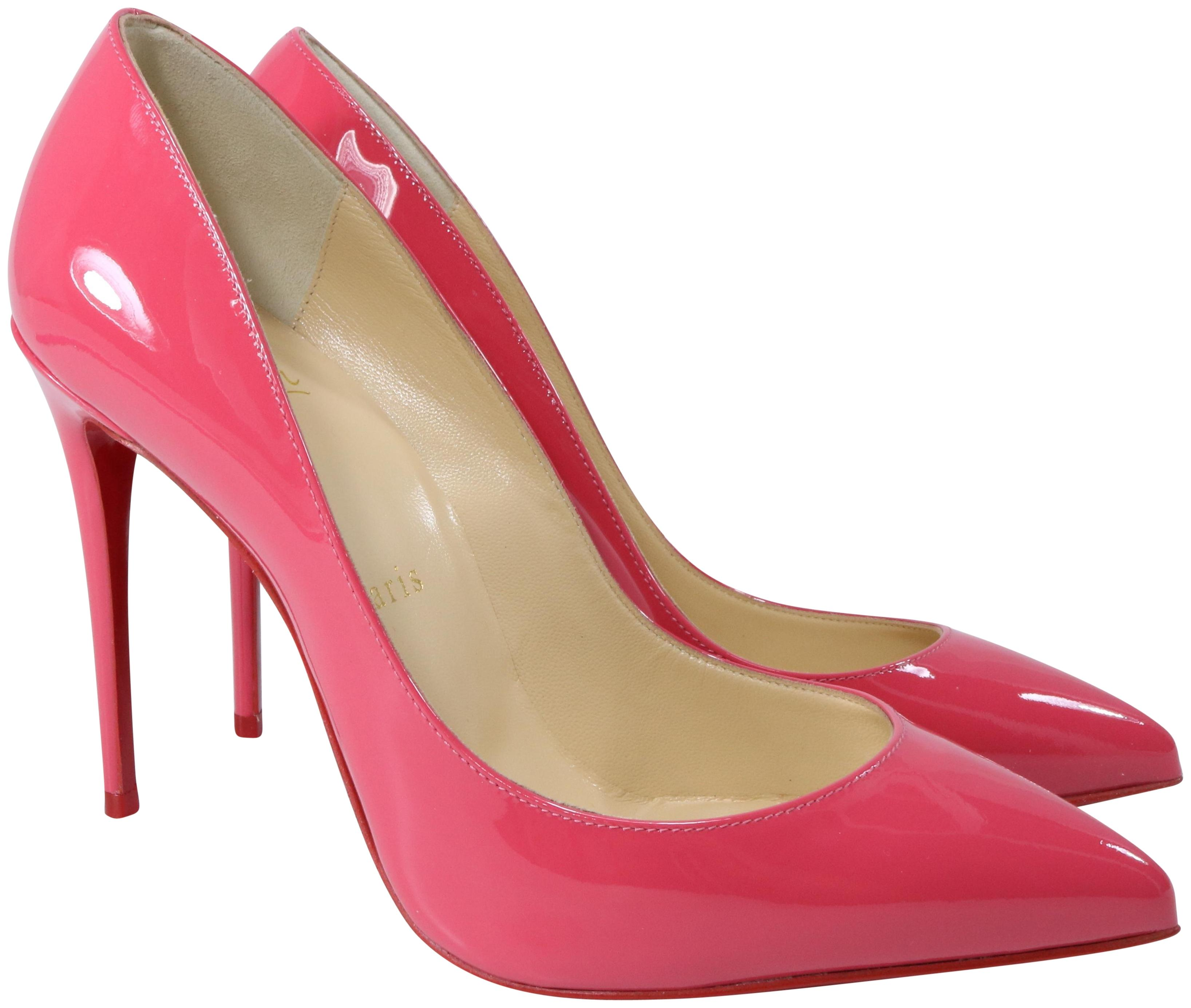 Christian Louboutin Begonia Pink Pigalle Follies Patent 100mm A821 Pumps Size EU 36.5 (Approx. US 6.5) Regular (M, B)