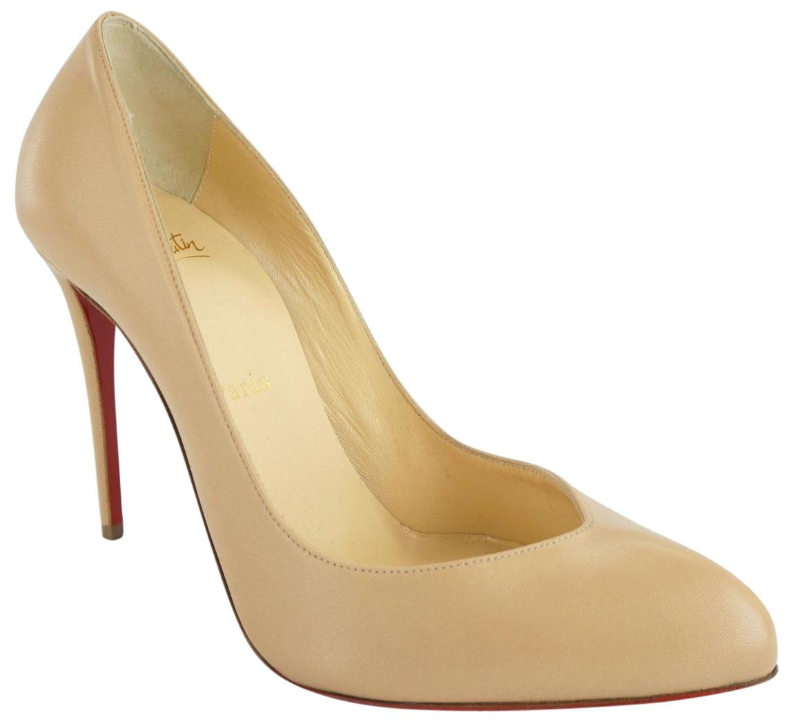 Christian Louboutin Beige Nude Leather Breche High Heel Pointed Pumps Size EU 37.5 (Approx. US 7.5) Regular (M, B)