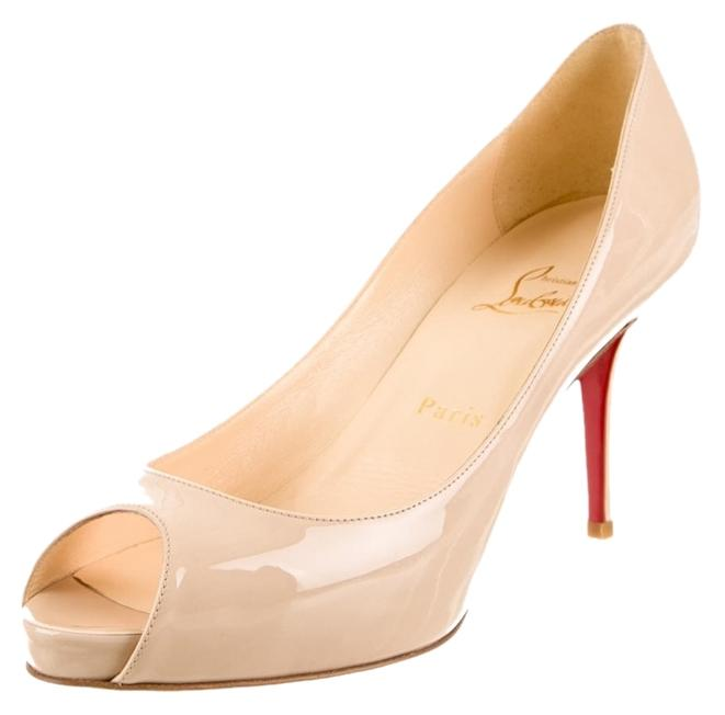 Christian Louboutin Beige Nude Patent Leather Mater Claude 85 Peep-toe New 39 Pumps Size US 9 Regular (M, B)