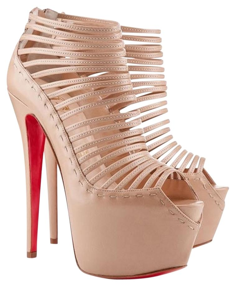 Christian Louboutin Tan Leather Textured Embellished Zoulou Peep Toe  Strappy Stiletto Hidden Platform Platform Pump Ankle ...