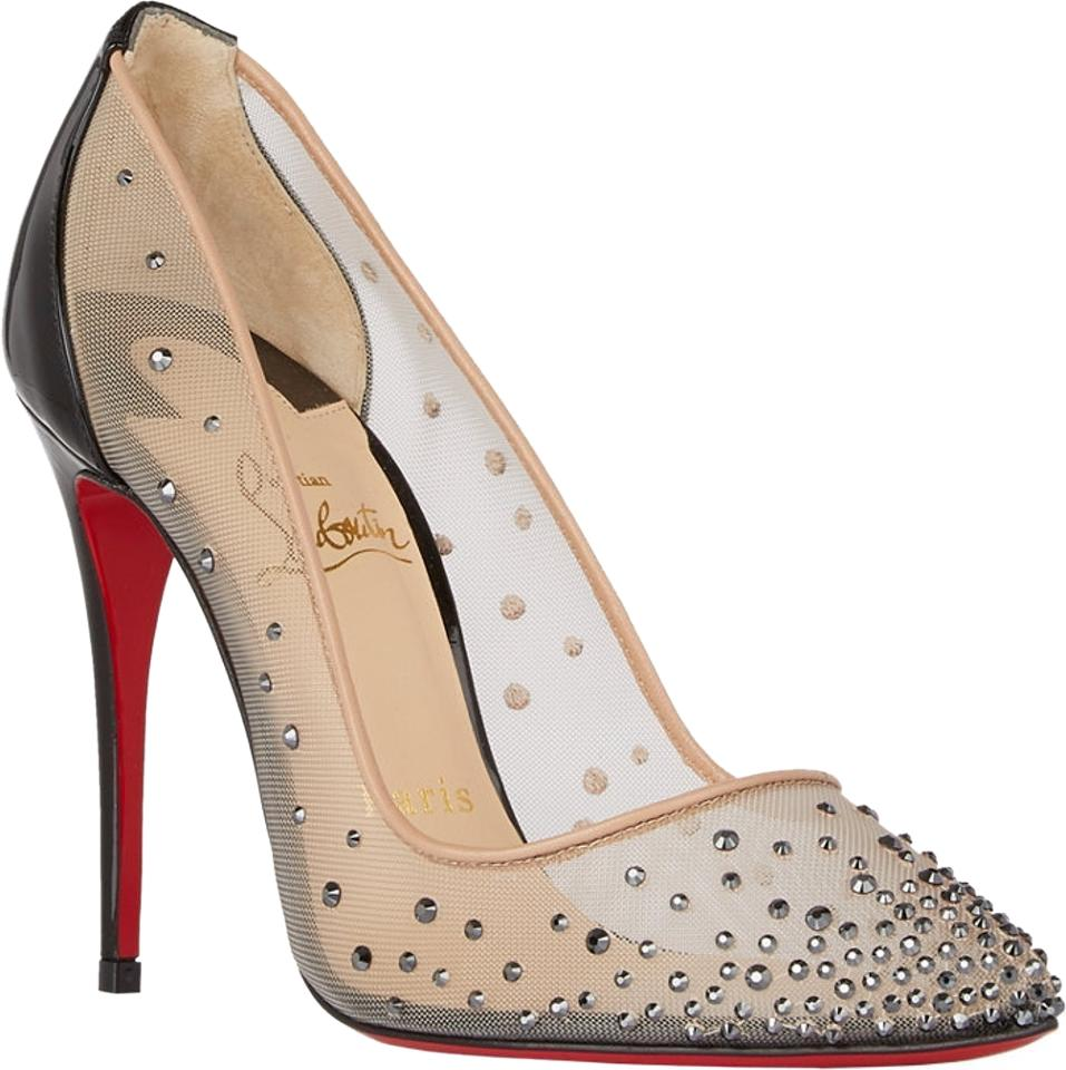 53e99a7f49bb Christian Louboutin Beige Black Crystal-embellished Follies Strass Strass  Strass Pumps Size US 9