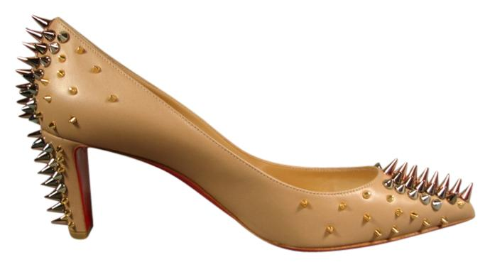 Christian Louboutin Beige/Nude 38.5 Goldopump Leather Metallic Spikes Point Pumps Size US 8.5 Regular (M, B)