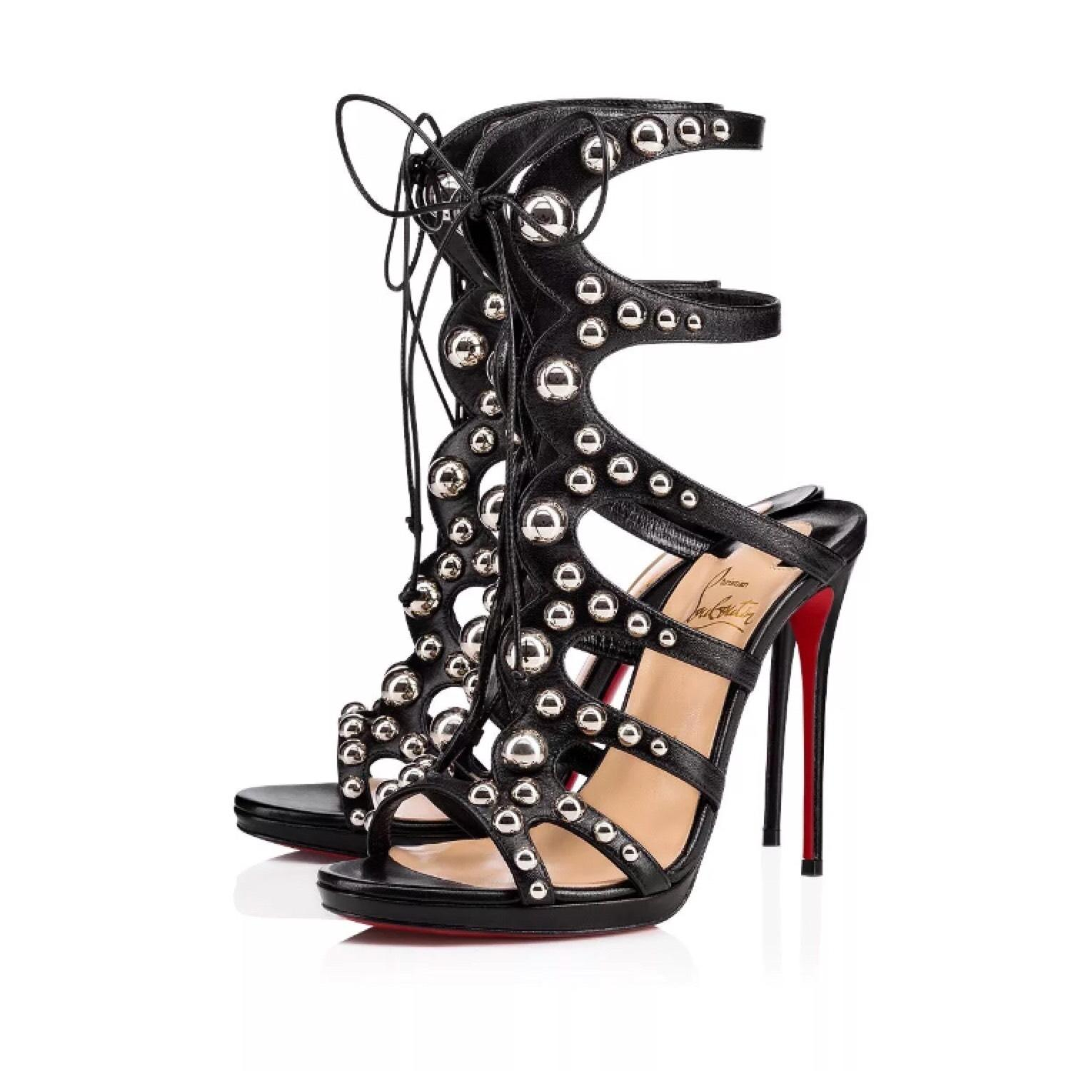 Christian Louboutin Black Amazoubille Leather Silver Stud Sandal Pumps Size EU 38 (Approx. US 8) Regular (M, B)