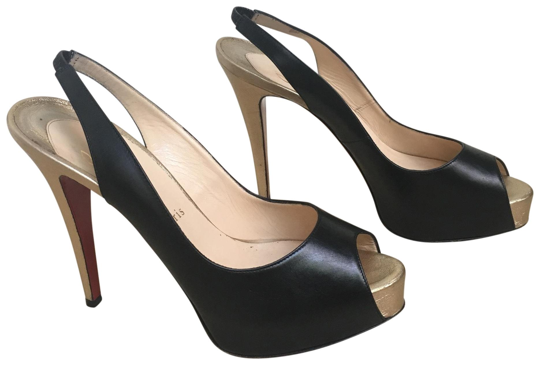 737a3e77465 Christian Louboutin Black and Gold Private Number Number Number Platforms  Size EU 40 (Approx.