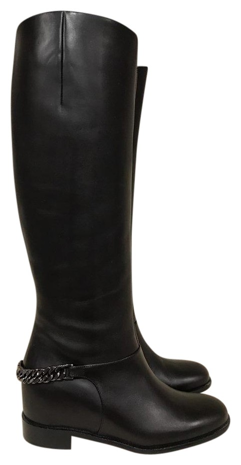 Christian Louboutin Black Cate Silver Chain Flat Calf Riding 35 Boots/Booties Size US 5 Regular (M, B)