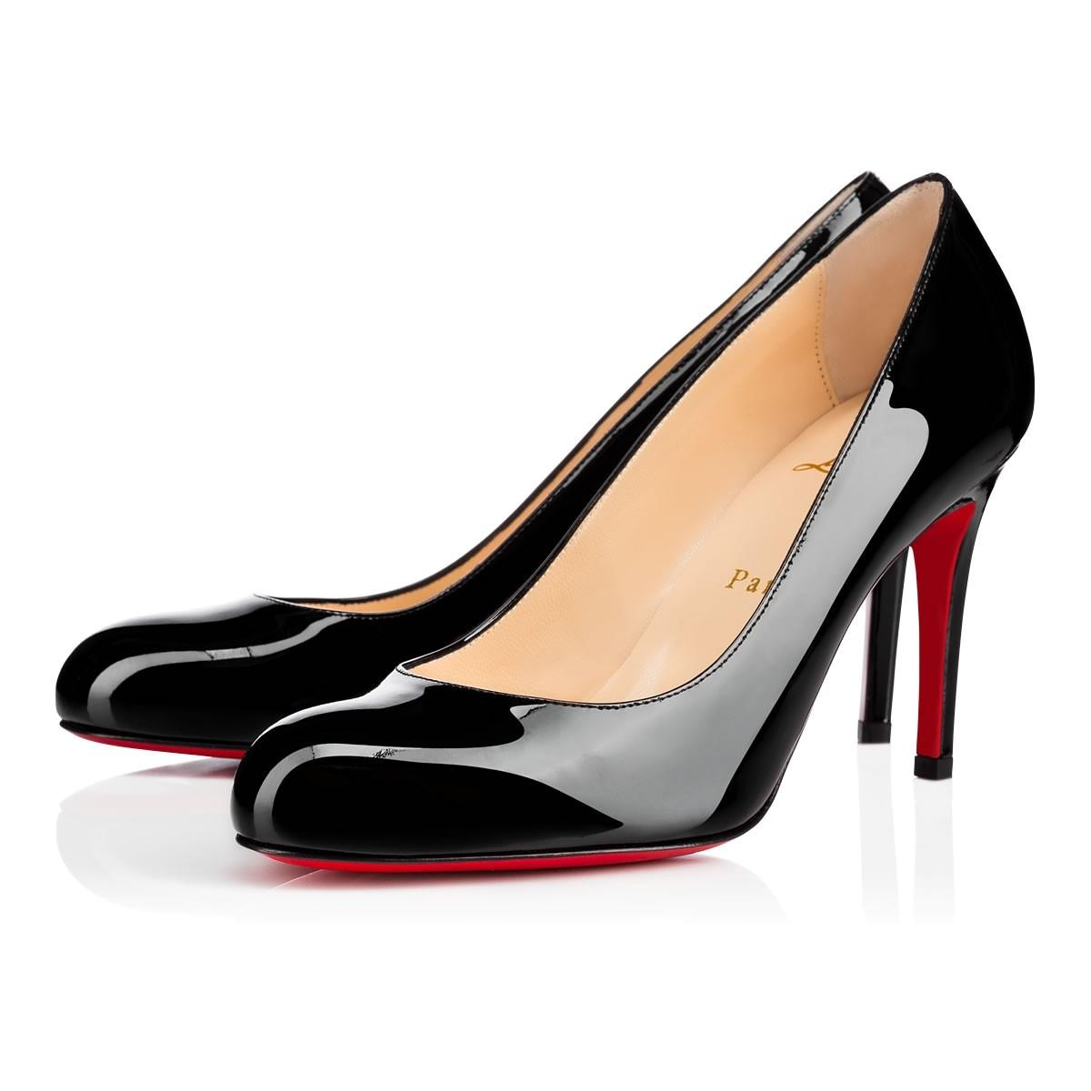 Christian Louboutin Black Classic Simple 85mm Patent Leather Round Toe Heels Pumps Size EU 39.5 (Approx. US 9.5) Regular (M, B)