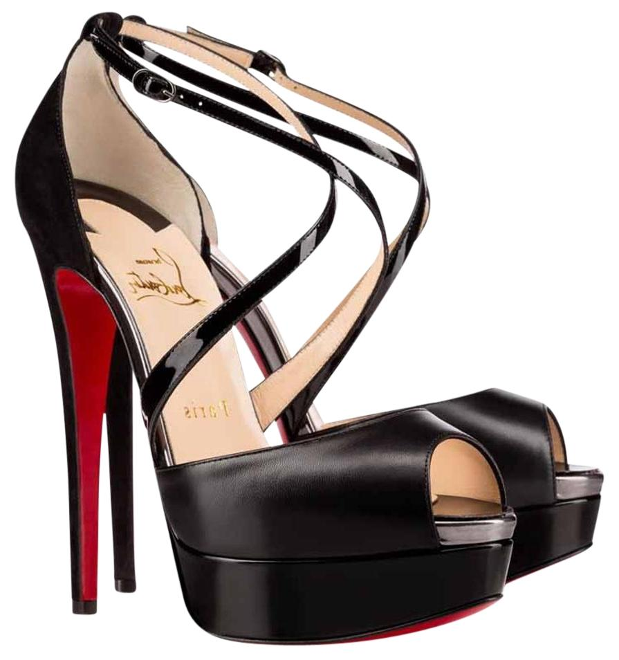 Christian Louboutin Black Cross Me Sandals Platforms Size US 8.5 Regular (M, B)