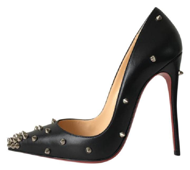 Christian Louboutin Black Degraspike 120 Silver Spiked Kid 7 Leather Pumps Size US 7 Kid 09fcdc