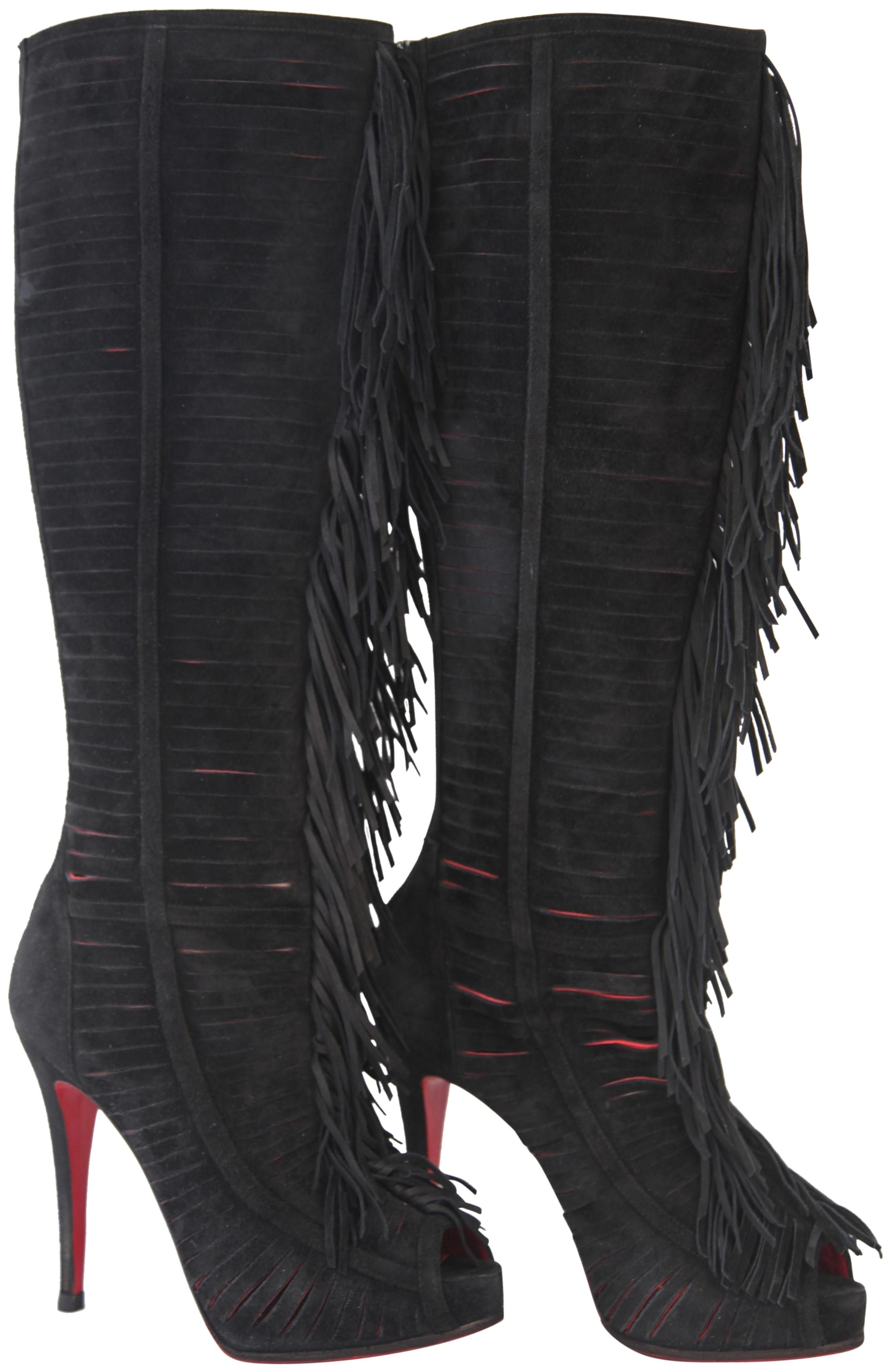Christian Louboutin Black Devassima Platform Over Knee 38 It High Heel Lady Alti Red Zip Suede Boots/Booties Size US 8 Regular (M, B)