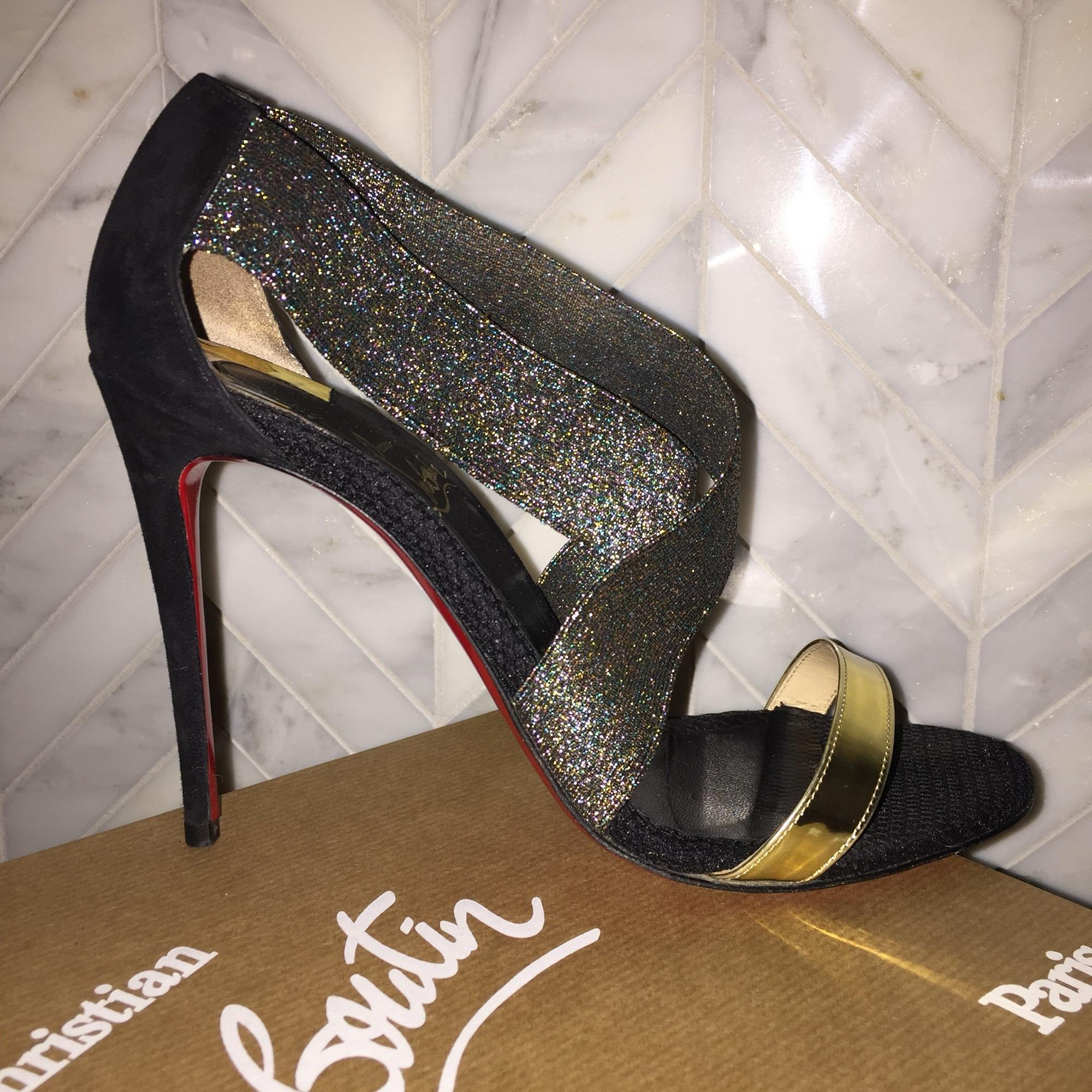d8d0b94a4d66 ... Christian Louboutin Black Elastagram 100 100 100 Specchio Veau  Multicolor Criss Cross Bling Heels Gold ...