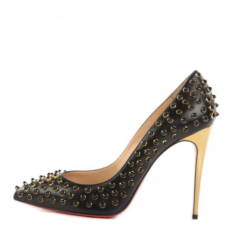 christian louboutin pigalle black spiked pump