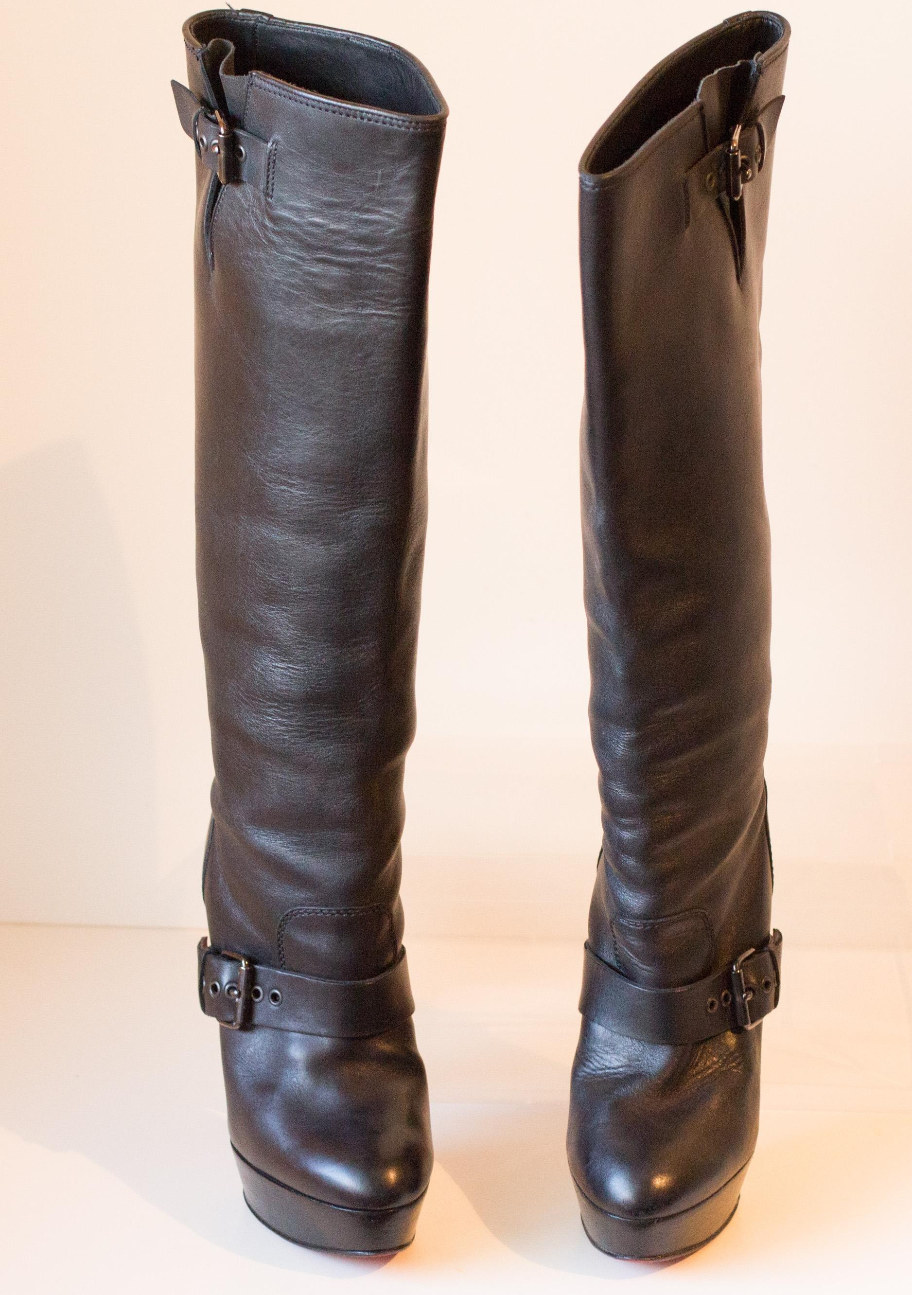 6cd096f13701 ... discount code for christian louboutin black harletty leather 37.5 boots  booties size us 6.5 regular m b