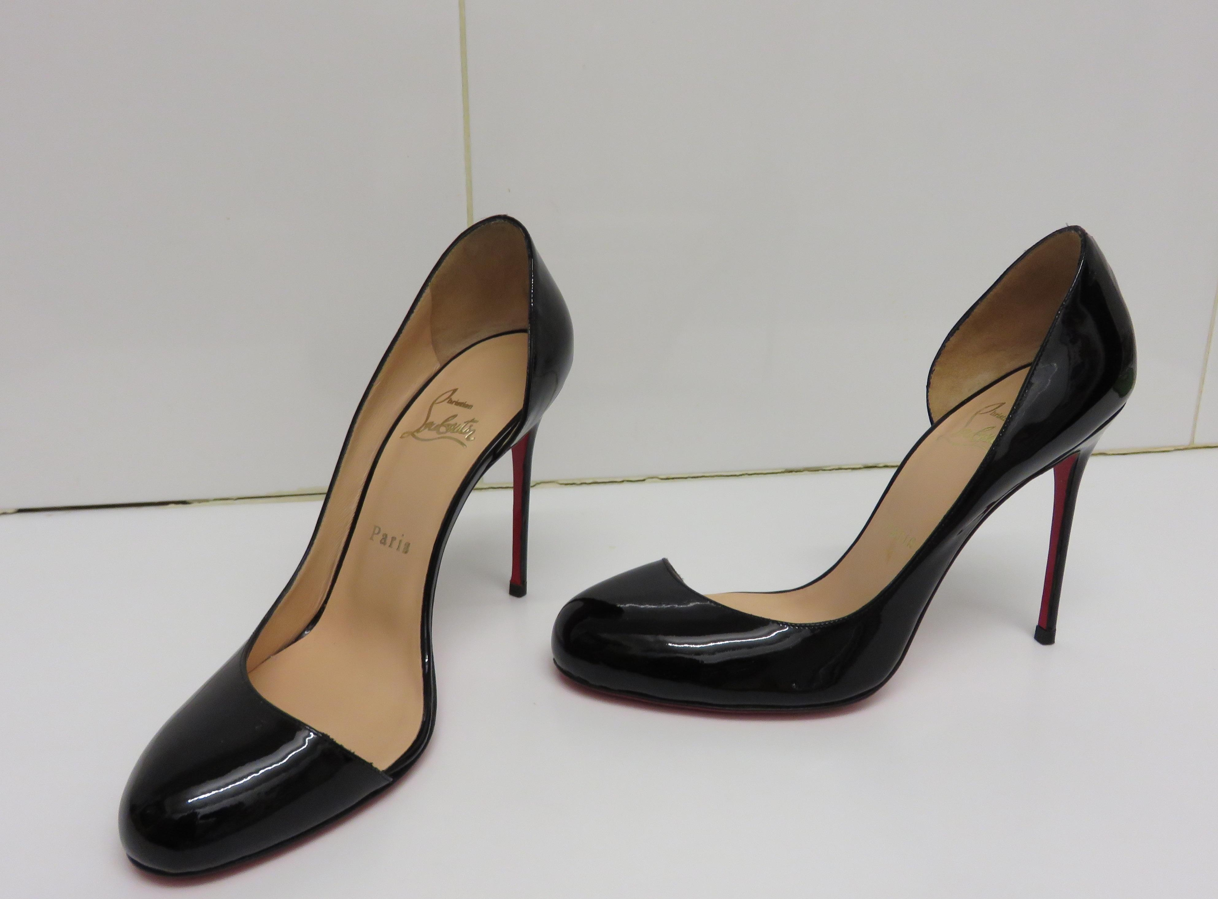 613611c86fe0 ... Christian Louboutin Black New In Box 100mm Patent Helmour Helmour  Helmour 38) Pumps Size US ...