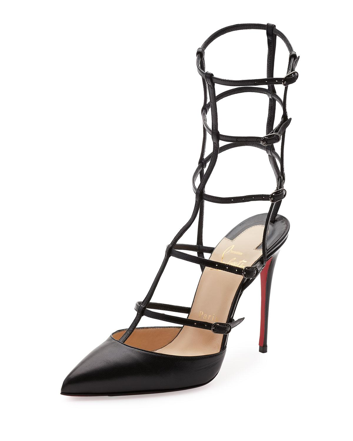Christian Louboutin Black New Kadreyana Caged Red 41 Pumps Size US 11 Regular (M, B)