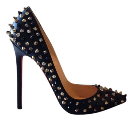 Christian Louboutin Black Pigalle Spikes Red Sole Pumps Size US 8