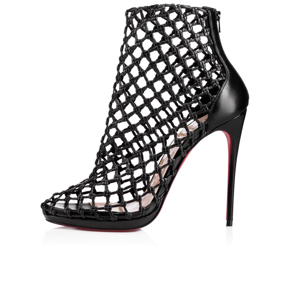Christian Louboutin Black Porligat 120 Caged Leather Platform Ankle Heels Boots/Booties Size EU 37 (Approx. US 7) Regular (M, B)