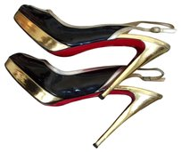 Christian Louboutin Black, Silver and Gold Platforms