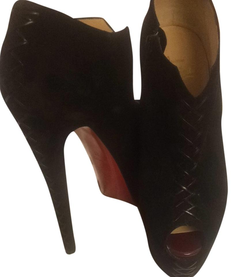 Christian Louboutin Black Suede Peep Toe Ankle Boots/Booties Size US 7 Regular (M, B)