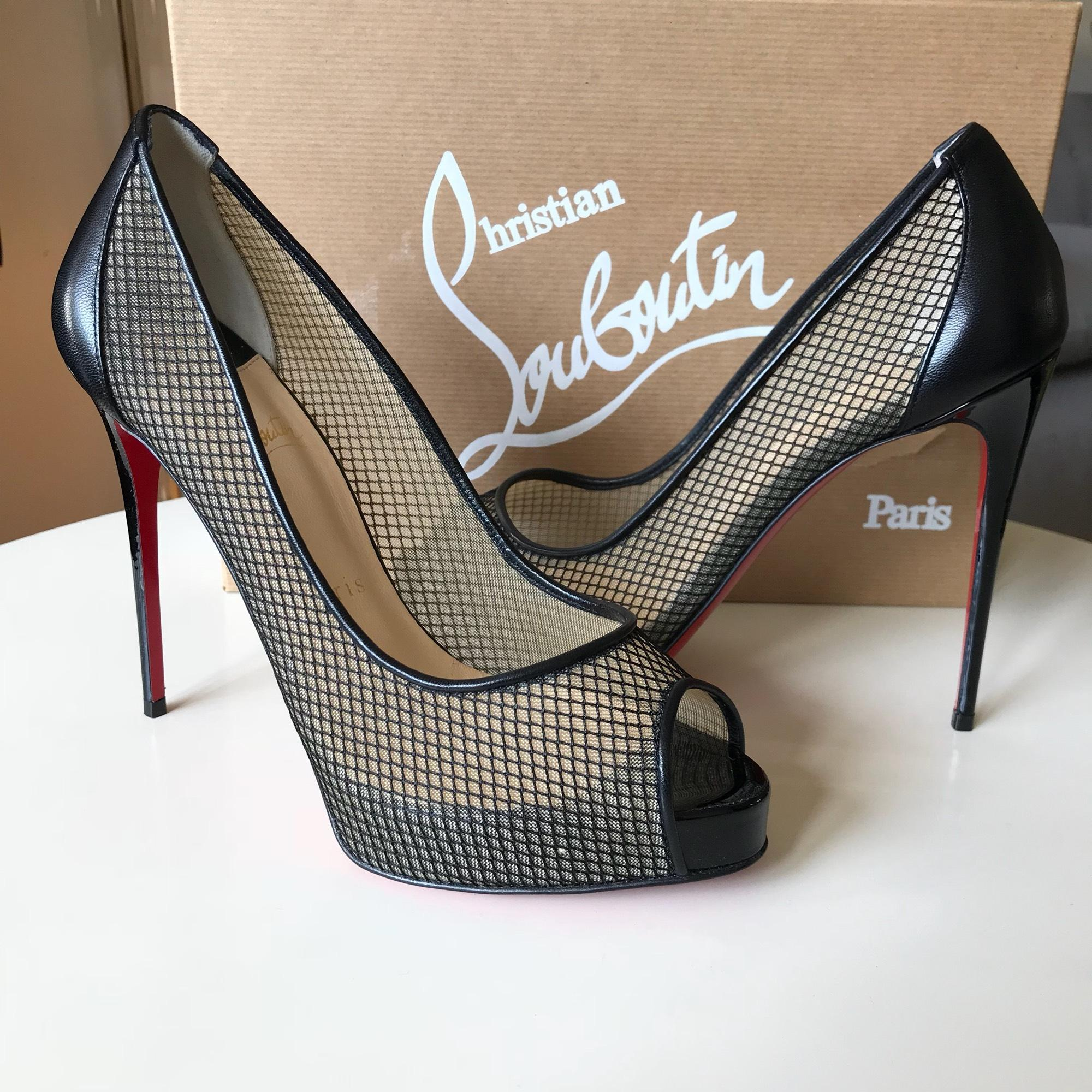 get cheap bd78f fbdfe Christian Louboutin Black Very Rete Mesh Peep Toe Pumps ...
