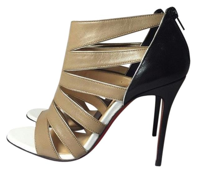 Christian Louboutin Black / White / Beige Beautyk 100 Kid Leather Euro 36.5 / 6.6 Sandals Size US 6.5