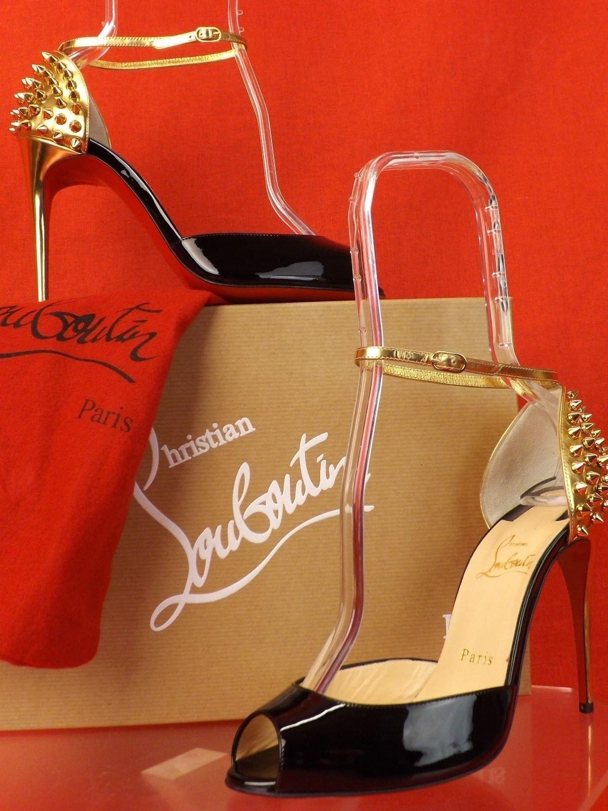 31a72f80c9f7 ... Christian Christian Christian Louboutin Black Gold Pina Spike 100  Patent Leather Pumps Size US 7.5 ...
