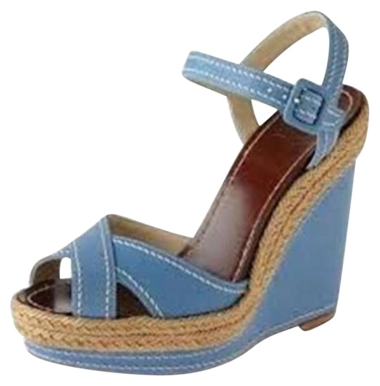 Christian Louboutin Blue Almeria Leather Espadrille Wedge Heels Sandals Platforms Size EU 40 (Approx. US 10) Regular (M, B)