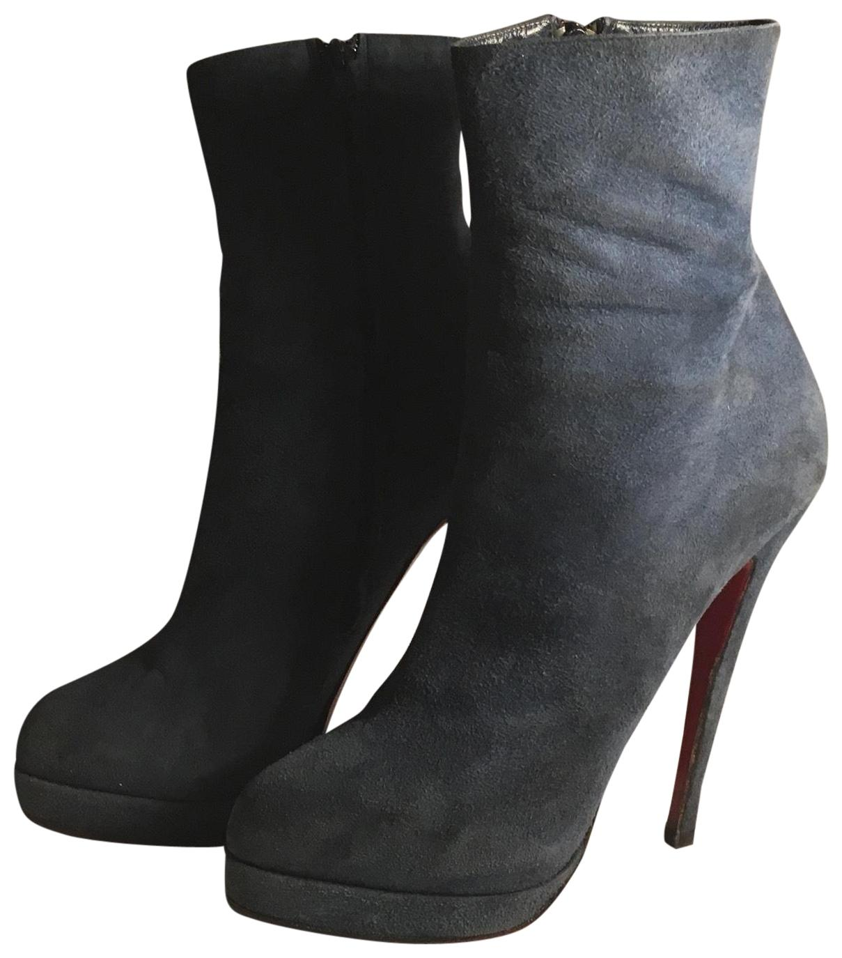 bc79df05d9c discount christian louboutin blue suede ankle boots a1281 a78f9