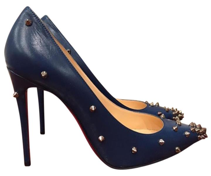 Christian Louboutin Blue Degraspike 100 Leather Silver Spike Heel 35.5 Pumps Size US 5.5 Regular (M, B)