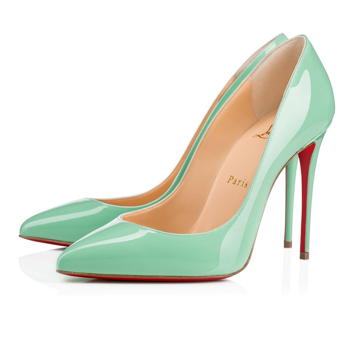 9ffa0e241014 Man Woman:Christian Louboutin Blue Pigalle Pigalle Pigalle Follies 100 Opal  Green Patent Heel Pumps Size EU 39 (Approx. US 9) Regular (M