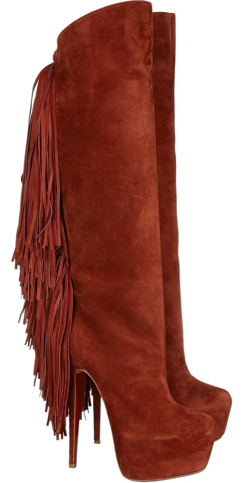 Christian Louboutin Brick Red Brown New Interlopa 160 Mm Fringed Suede Suede Knee High 37.5 Boots/Booties Size US 7.5